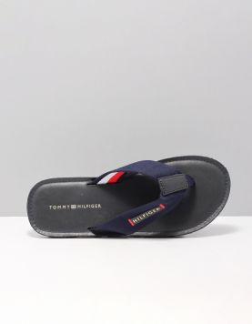 Hilfiger Leather Flip Flop Slippers Fm0fm02080403 Midnight 115674-71 1