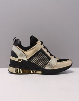 Michael Kors Georgie Trainer Sneakers 43t0gefs5d-752 Pale Gold Black 119511-09 1